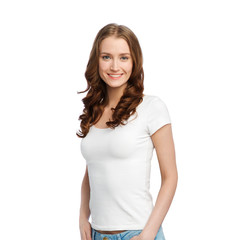 body positive and people concept - happy woman in white t-shirt