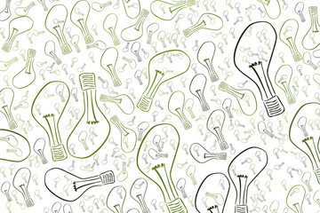 Light bulbs illustrations background abstract, hand drawn. Cartoon, repeat, design & vision.