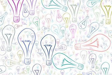 Decorative hand drawn light bulbs illustrations. Drawing, abstract, effect & backdrop.