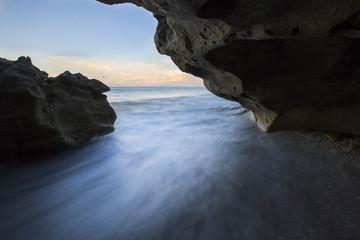 Hidden ocean cave