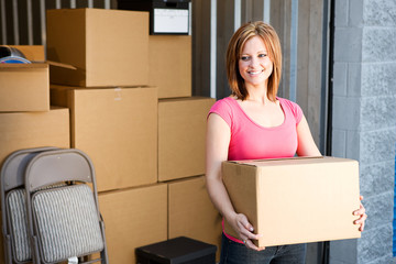 Storage: Woman with Boxes Behind