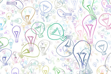 Abstract illustrations of light bulbs, conceptual pattern. Color, line, drawing & digital.