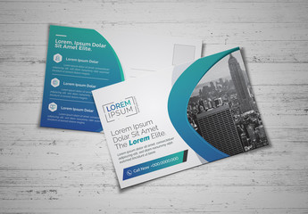 Blue Gradient Business Post Card Layout
