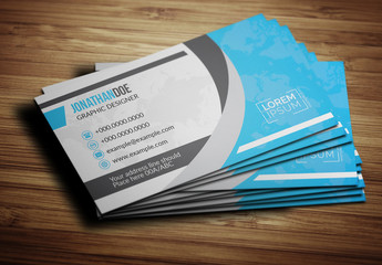 Blue World Map Business Card Layout