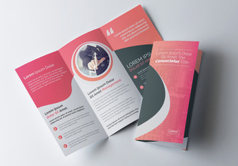 Pink Gradient Tri-fold Brochure Layout