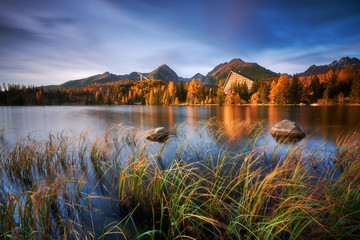 Mountain lake in National Park High Tatra. Strbske pleso, Slovakia, Europe.