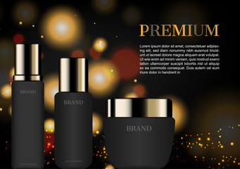 Premium skin care ad with glittering light background