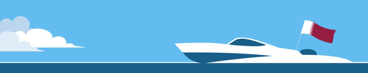 Motor boat with qatar flag