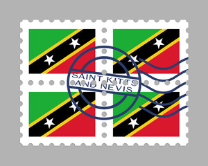 Saint Kitts and Nevis flag on postage stamps