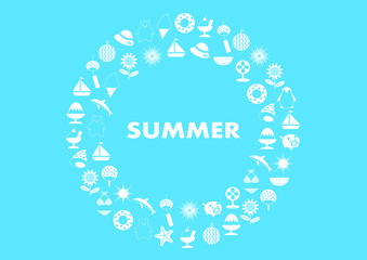 Summer 夏 イラスト ロゴ フレーム 円形