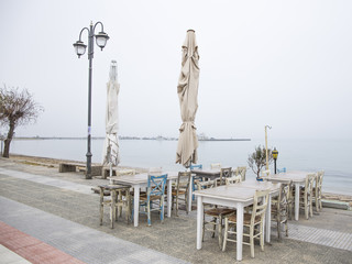 Street café on a misty morning