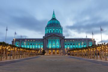 San Francisco City Hall Lit in Green. Civic Center Plaza, San Francisco, California, USA.
