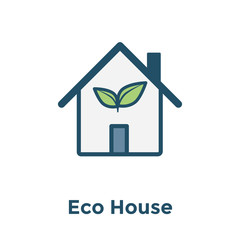 Green Initiatives Ecohouse icon w eco friendly house / plant icon