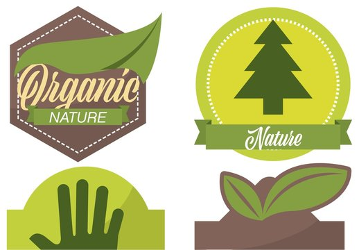 4 Green and Brown Organic Label Layouts