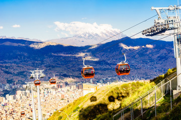 Public transport by cable car Mi Teleferico in La Paz - Bolivia
