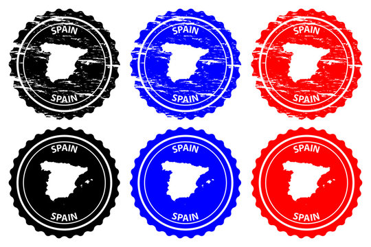 Spain - rubber stamp - vector, Spain map pattern - sticker - black, blue and red