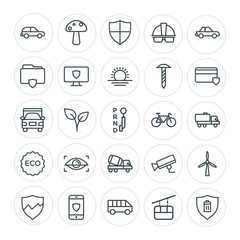 Modern Simple Set of transports, industry, nature, security Vector outline Icons. Contains such Icons as  shield,  mobile,  summer, food and more on white background. Fully Editable. Pixel Perfect