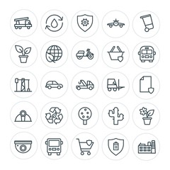 Modern Simple Set of transports, industry, nature, security Vector outline Icons. Contains such Icons as  auto,  building,  recycle, room and more on white background. Fully Editable. Pixel Perfect