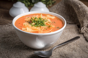 Fresh tomato soup with rice.