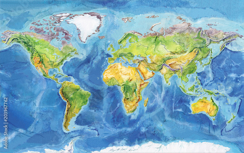 Watercolor geographical map of the world. Physical map of the world ...