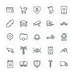 Modern Simple Set of transports, industry, nature, security Vector outline Icons. Contains such Icons as shipping,  screw,  sky,  bin,  card and more on white background. Fully Editable. Pixel Perfect