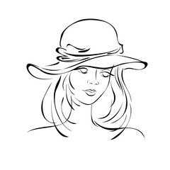 female portrait 4. portrait of a beautiful girl in a female hat in black lines on a white background