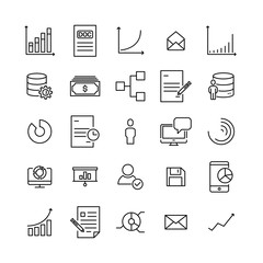 Simple set of teamwork related outline icons.
