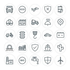 Modern Simple Set of transports, industry, nature, security Vector outline Icons. Contains such Icons as  renewable,  airplane,  safety, bio and more on white background. Fully Editable. Pixel Perfect