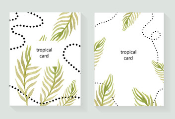 Watercolor vector hand painted green tropical floral card.