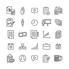 Modern outline style management icons collection