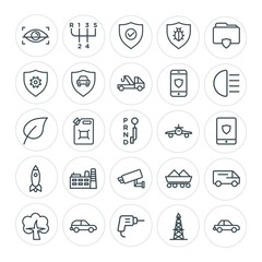 Modern Simple Set of transports, industry, nature, security Vector outline Icons. Contains such Icons as  diesel,  eye,  transmission,  gas and more on white background. Fully Editable. Pixel Perfect