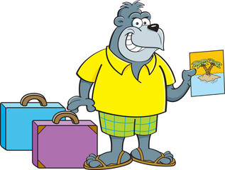 Cartoon illustration of a gorilla wearing shorts with suitcases.