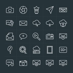 Modern Simple Set of cloud and networking, chat and messenger, video, photos, email Vector outline Icons. Contains such Icons as  add, error and more on dark background. Fully Editable. Pixel Perfect.