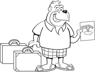 Black and white illustration of a gorilla wearing shorts with suitcases.