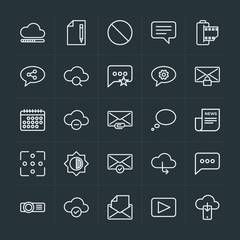 Modern Simple Set of cloud and networking, chat and messenger, video, photos, email Vector outline Icons. Contains such Icons as  chat,  old and more on dark background. Fully Editable. Pixel Perfect.