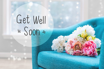 Get Well message with flower bouquets with turquoise chair
