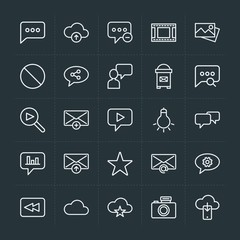 Modern Simple Set of cloud and networking, chat and messenger, video, photos, email Vector outline Icons. Contains such Icons as  rewind and more on dark background. Fully Editable. Pixel Perfect.