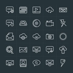 Modern Simple Set of cloud and networking, chat and messenger, video, photos, email Vector outline Icons. Contains such Icons as  web, error and more on dark background. Fully Editable. Pixel Perfect.