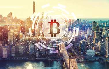 Bitcoin with the New York City skyline near Midtown
