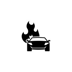 Burning Car. Flat Vector Icon. Simple black symbol on white background