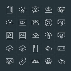 Modern Simple Set of cloud and networking, chat and messenger, video, photos, email Vector outline Icons. Contains such Icons as  document and more on dark background. Fully Editable. Pixel Perfect.