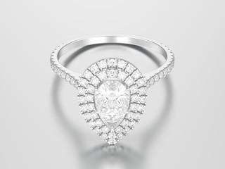 3D illustration silver decorative pear diamond ring