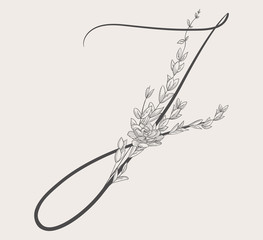 Vector Hand Drawn Flowered J monogram and logo