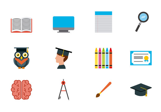 24 Colorful School and Education Icons