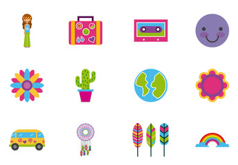 24 Colorful Retro Icons