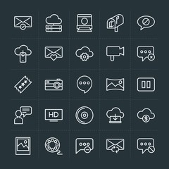 Modern Simple Set of cloud and networking, chat and messenger, video, photos, email Vector outline Icons. Contains such Icons as  block and more on dark background. Fully Editable. Pixel Perfect.