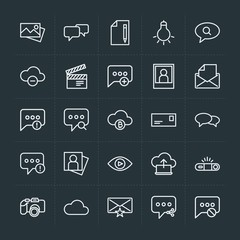 Modern Simple Set of cloud and networking, chat and messenger, video, photos, email Vector outline Icons. Contains such Icons as  internet and more on dark background. Fully Editable. Pixel Perfect.