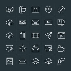 Modern Simple Set of cloud and networking, chat and messenger, video, photos, email Vector outline Icons. Contains such Icons as  vintage and more on dark background. Fully Editable. Pixel Perfect.