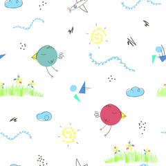 Seamless pattern with cute hand drawn cartoons of summer landscape and funny birds. Children vector background good for kid's room, clothes, toys, cards, wrapping