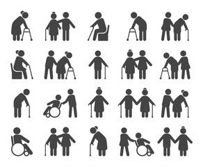 Elderly people icon set